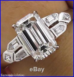 Gia 1.22ct Antique Vintage Deco Emerald Cut Diamond Engagement Wedding Ring Plat