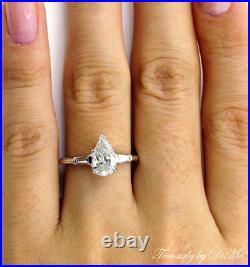 Gia 1.39ct Estate Vintage Pear Diamond Engagement Wedding Ring 3 Stone Platinum