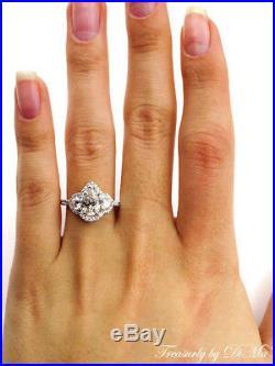 Gia 2.01ct Estate Vintage Pear Diamond Engagement Wedding Ring H Vs2 Halo 14kwg