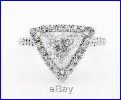 Gia 2.53ct Estate Vintage Trillion Diamond Halo Engagement Wedding Ring Platinum