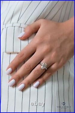 Gia 4.14ct Pear Diamond Engagement Wedding Three Stone Vintage Platinum Ring