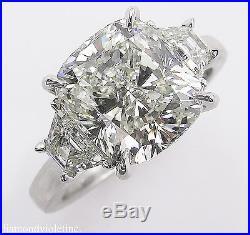 Gia 4.50ct Estate Vintage Cushion Diamond 3 Stone Engagement Wedding Ring Plat