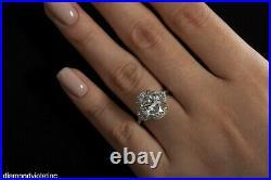 Gia 6.01ct Estate Vintage Oval Diamond 3 Stone Engagement Wedding Ring Platinum