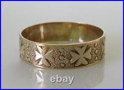 Gold Wedding Ring Vintage 9ct Gold Floral Patterned Wedding Band Ring Size N