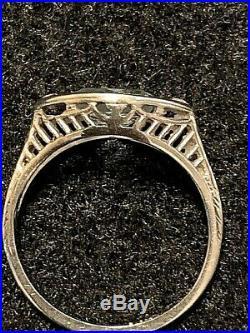 Gorgeous Vintage/Antique Aquamarine Diamond Accent Ring, 18k White Gold