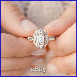 Halo Emerald 2.50TCW Diamond Vintage Engagement Ring 10k Rose Gold Wedding Ring