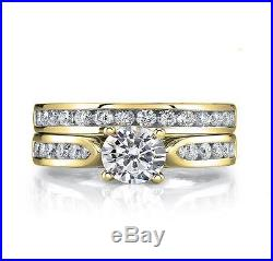 I1/G Vintage Round Diamond 1.40 Ct Gold Matching Bridal Ring Set Engagement Band
