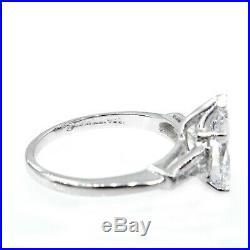 I Vvs2 Gia 2.38ct Vintage Pear Diamond Engagement Wedding Ring 3 Stone Platinum