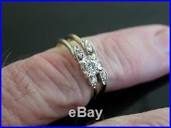 KEEPSAKE Vintage 14K Gold Diamond Wedding Two Ring Set Size 6.1120
