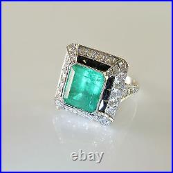 LARGE Art Deco Emerald Diamond Platinum Engagement Ring Wedding OMC OEC Filigree