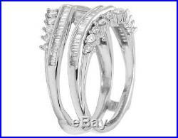 Ladies 14K White Gold Genuine Baguette Diamond Ring Enhancer Jacket Guard 1 CT