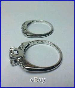 MATCHING PAIR OF VINTAGE DIAMOND ENGAGEMENT AND WEDDING RING 14K WHITE GOLD