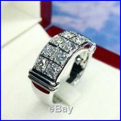 Men's Vintage Estate 14K White Gold Fn Round 1.50Ct Diamond Wedding Band Ring