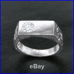 Mens Vintage 14k White Gold Over 0.30 Ct CZ Nugget Wedding Band Ring Free Size