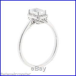 Moonstone Diamond Halo Engagement Promise Ring Vintage Emerald Cut 925 Silver