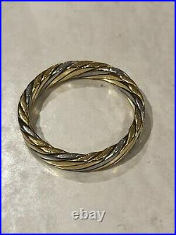 NOT SCRAP Vintage Solid 18ct Yellow Gold & Platinum Rope Wedding Ring 5g Size L