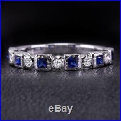 Natural Diamond Sapphire White Gold Wedding Band Ring Vintage Round Princess 14k