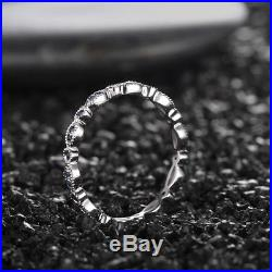 New 14K White Gold Sapphires Miligrain Vintage Enagement Wedding Fine Band Ring
