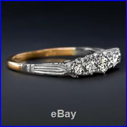 Old European Cut Diamond Vintage Ring 18k Yellow Gold Platinum Wedding Band 1/4