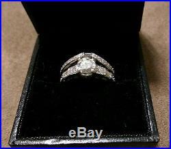 Over 1.25 tcw Vintage Diamond Engagement Wedding Ring Set 14K White Gold