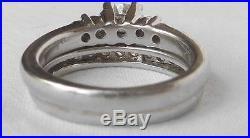 PLATINUM Vintage. 85Ct G/VS Diamond Engagement Wedding Ring SetArt Deco Band