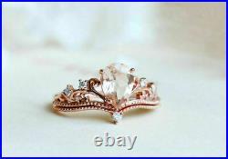 Pear Morganite Vintage Art Deco Crown Engagement Ring Set 14K Rose Gold Over
