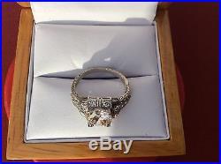 Platinum 1.67 Center Diamond set in a vintage Art Deco Wedding Engagement Ring