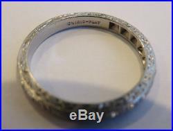 Platinum Antique Vintage Art Deco Floral Diamond Wedding Eternity Band Ring
