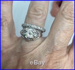 Platinum Diamond Vintage Wedding Anniversary Band Ring