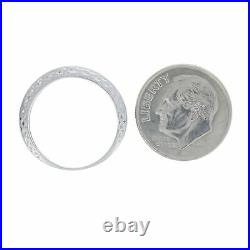 Platinum Diamond Vintage Wedding Band Round Brilliant Cut Etched Ring
