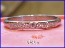 Platinum Vintage Antique Art Deco Diamond Eternity Band Wedding Anniversary Ring