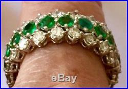 Platinum Vintage Diamond Emerald Wedding Eternity Band