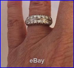 Platunum Vintage Diamond double row Wedding Anniversary Band Ring