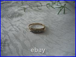 Pretty Antique 18k Yellow Gold And Platimum Solid Gold Five Stone Diamond Ring