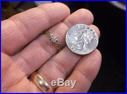 Pretty Vtg Ladies 10k Yellow Gold & Tiny Diamond Engagement Wedding Ring, Hearts