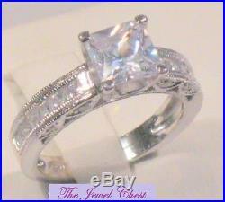 Princess Cut D/VVS1 Diamond Engagement Ring Vintage Estate White Gold Solitaire