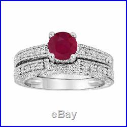RUBY & DIAMOND ENGAGEMENT RING WEDDING BAND SETS VINTAGE STYLE 14K WHITE GOLD Fn