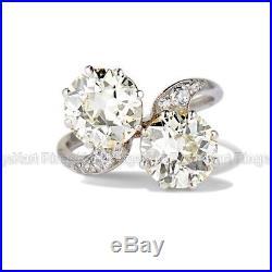 Rare Vintage Art Deco 2 Ct Diamond Engagement Wedding Toi et Moi Ring 1935's