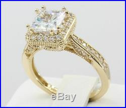Real 10k Gold Princess Cut Diamond Vintage Style Ladies Engagement Wedding Ring