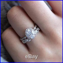 Real 14K White Gold 2 CT Diamond Halo Vintage Engagement Wedding Band Ring Set