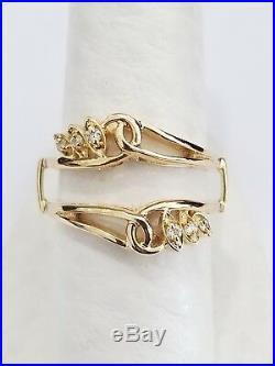 Real 14K Yellow Gold Diamond Enhancer Ring Guard Wrap Ladies Vintage Wedding