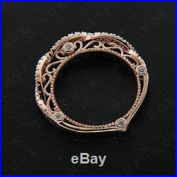Real 18k Rose Gold Round Natural Diamond Ladies Wedding Vintage Engagement Ring