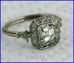 Retro Vintage 1.4 Ct Asscher Diamond Engagement Wedding Ring 14k White Gold Over