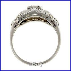 Retro Vintage Art Deco Engagement Wedding Ring 2 Ct Diamond 14K White Gold Cert