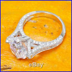 Round Cut Diamond 14k Solid Two Tone Gold Engagement Vintage Wedding Ring