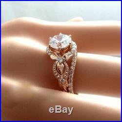 Round Diamond Vintage Bridal Set Unique Engagement Rings Real 10k Rose Gold