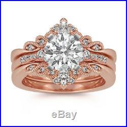 Round Diamond Vintage Engagement Ring Wedding Band Bridal Set 14k Rose Real Gold