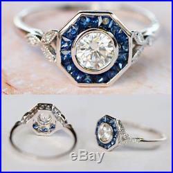 Round Genuine Moissanite Vintage Bezel Set Wedding Ring 14k White Gold 2.10 Ct