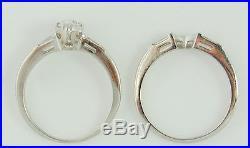 Solid Platinum. 62cttw Natural Diamond Wedding Engagement Ring Vintage Set Nr