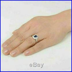 Sapphire Ring 14K Gold Fn Vintage Art Deco Engagement Wedding Ring 2 Ct Diamond